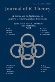 Journal of K-Theory Volume 6 - Issue 3 -
