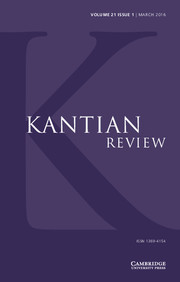 Kantian Review Volume 21 - Issue 1 -