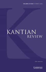 Kantian Review Volume 25 - Issue 1 -
