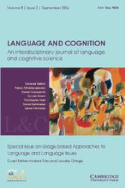 Language and Cognition Volume 8 - Special Issue3 -  Special issue on Usage-based Approaches to Language and Language Issues