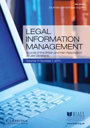 Legal Information Management Volume 11 - Issue 1 -