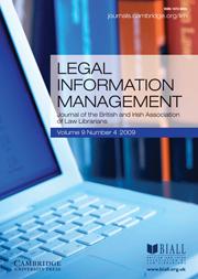 Legal Information Management Volume 9 - Issue 4 -