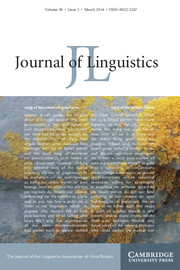 Journal of Linguistics Volume 50 - Issue 1 -
