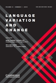 Language Variation and Change Volume 31 - Issue 1 -