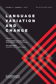 Language Variation and Change Volume 31 - Issue 3 -
