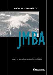 Journal of the Marine Biological Association of the United Kingdom Volume 83 - Issue 6 -