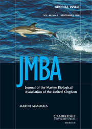 Journal of the Marine Biological Association of the United Kingdom Volume 88 - Issue 6 -  Marine Mammals