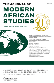 The Journal of Modern African Studies Volume 50 - Issue 1 -