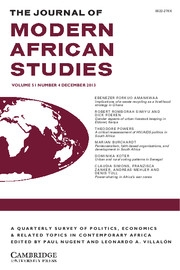 The Journal of Modern African Studies Volume 51 - Issue 4 -