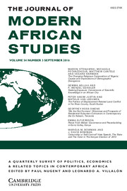 The Journal of Modern African Studies Volume 54 - Issue 3 -