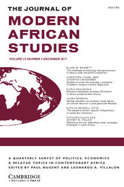 The Journal of Modern African Studies Volume 55 - Issue 4 -