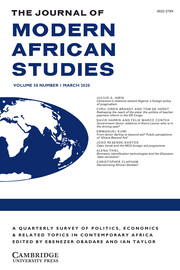 The Journal of Modern African Studies Volume 58 - Issue 1 -
