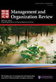 Management and Organization Review Volume 11 - Issue 4 -  Special Issue Expanding Research on Family Business in China
