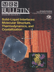MRS Bulletin Volume 29 - Issue 12 -  Solid–Liquid Interfaces: Molecular Structure, Thermodynamics, and Crystallization