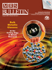 MRS Bulletin Volume 32 - Issue 8 -  Bulk Metallic Glasses: At the Cutting Edge of Metals Research