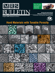 MRS Bulletin Volume 34 - Issue 8 -  Hard Materials with Tunable Porosity