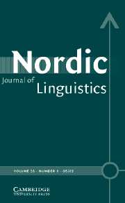 Nordic Journal of Linguistics Volume 26 - Issue 1 -