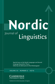 Nordic Journal of Linguistics Volume 33 - Issue 2 -  The Nordic Languages and Second Language Acquisition Theory