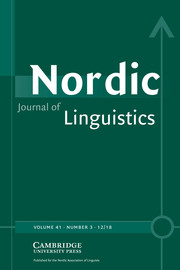 Nordic Journal of Linguistics Volume 41 - Issue 3 -