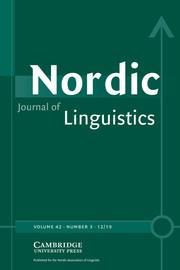 Nordic Journal of Linguistics Volume 42 - Issue 3 -