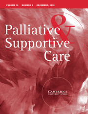 Palliative & Supportive Care Volume 16 - Issue 6 -