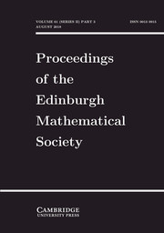 Proceedings of the Edinburgh Mathematical Society Volume 61 - Issue 3 -