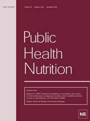 Public Health Nutrition Volume 10 - Issue 12 -