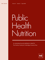 Public Health Nutrition Volume 12 - Issue 8 -