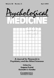 Psychological Medicine Volume 33 - Issue 4 -