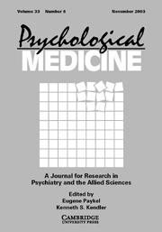 Psychological Medicine Volume 33 - Issue 8 -