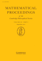 Mathematical Proceedings of the Cambridge Philosophical Society Volume 149 - Issue 2 -