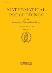 Mathematical Proceedings of the Cambridge Philosophical Society Volume 161 - Issue 1 -