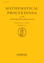 Mathematical Proceedings of the Cambridge Philosophical Society Volume 163 - Issue 2 -