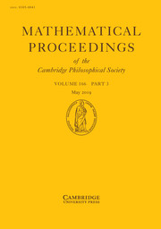 Mathematical Proceedings of the Cambridge Philosophical Society Volume 166 - Issue 3 -