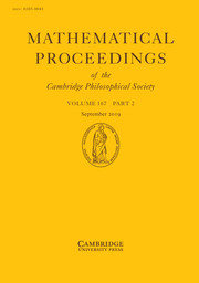 Mathematical Proceedings of the Cambridge Philosophical Society Volume 167 - Issue 2 -
