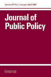 Journal of Public Policy Volume 27 - Issue 1 -
