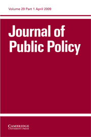 Journal of Public Policy Volume 29 - Issue 1 -