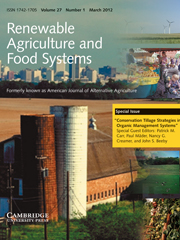 Renewable Agriculture and Food Systems Volume 27 - Issue 1 -  Special Issue: Conservation Tillage Strategies in Organic Management Systems