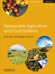 Renewable Agriculture and Food Systems Volume 28 - Issue 1 -