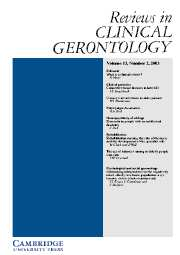 Reviews in Clinical Gerontology Volume 13 - Issue 2 -