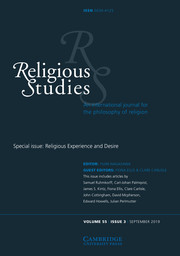 Religious Studies Volume 55 - Special Issue3 -  Religious Experience and Desire