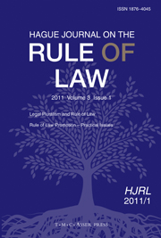 Hague Journal on the Rule of Law Volume 3 - Issue 1 -
