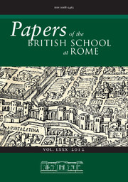 Papers of the British School at Rome Volume 80 - Issue  -