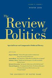The Review of Politics Volume 70 - Issue 1 -  Special Issue on Comparative Political Theory
