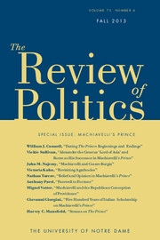 The Review of Politics Volume 75 - Issue 4 -  Machiavelli's Prince