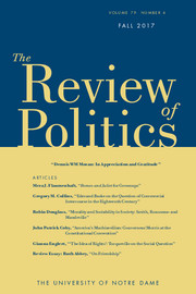 The Review of Politics Volume 79 - Issue 4 -  Dennis WM Moran: In Appreciation and Gratitude