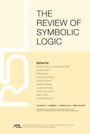 The Review of Symbolic Logic Volume 12 - Issue 1 -