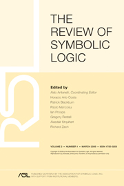 The Review of Symbolic Logic Volume 2 - Issue 1 -
