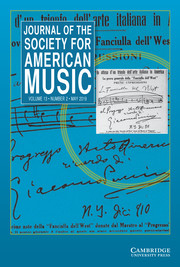 Journal of the Society for American Music Volume 13 - Issue 2 -