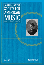 Journal of the Society for American Music Volume 5 - Issue 1 -